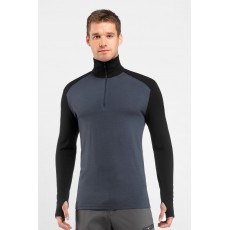 Icebreaker mens Tech top long sleeves Half zip Monsoon/black