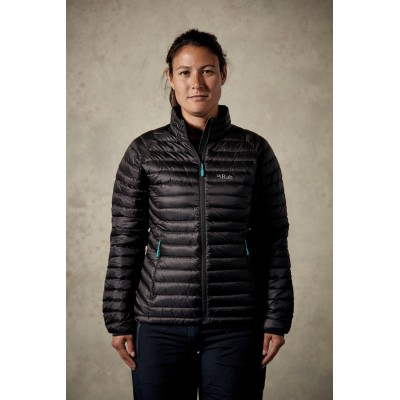 Rab Microlight Jacket Women Black / Seaglass Mountain Pro Shop Val d'isère